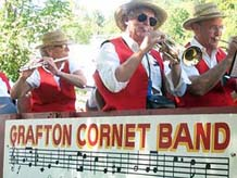 Grafton Cornet Band on the bandwagon at Wardsboro, VT July 4, 2005
