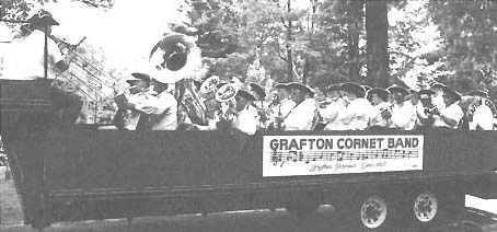 The band on the bandwagon for a parade from 1992 Grafton Cornet Band History